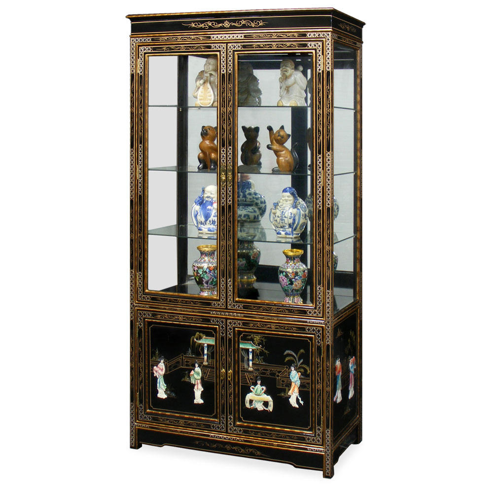 Black Lacquer Curio Cabinet with Soap Stone Lady Design