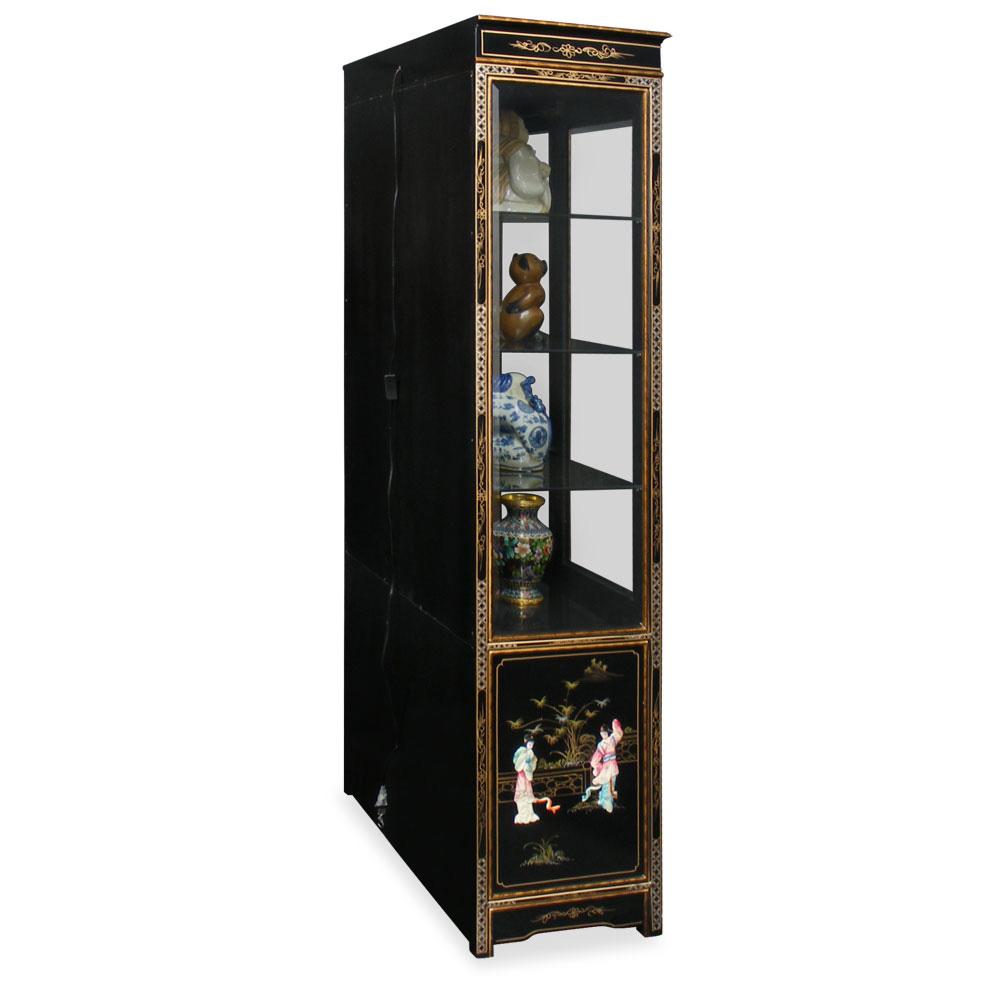 black lacquer curio cabinet with soap design
