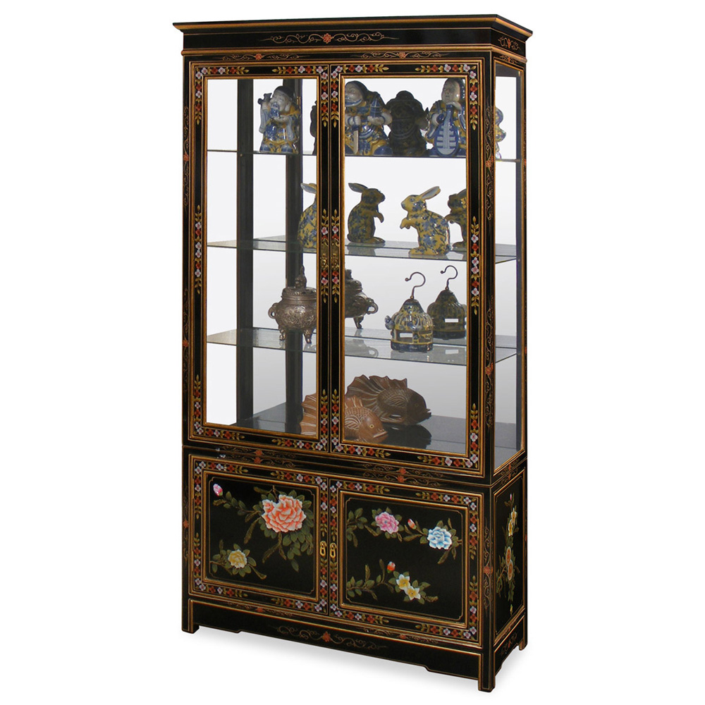 black lacquer soap flower motif curio cabinet