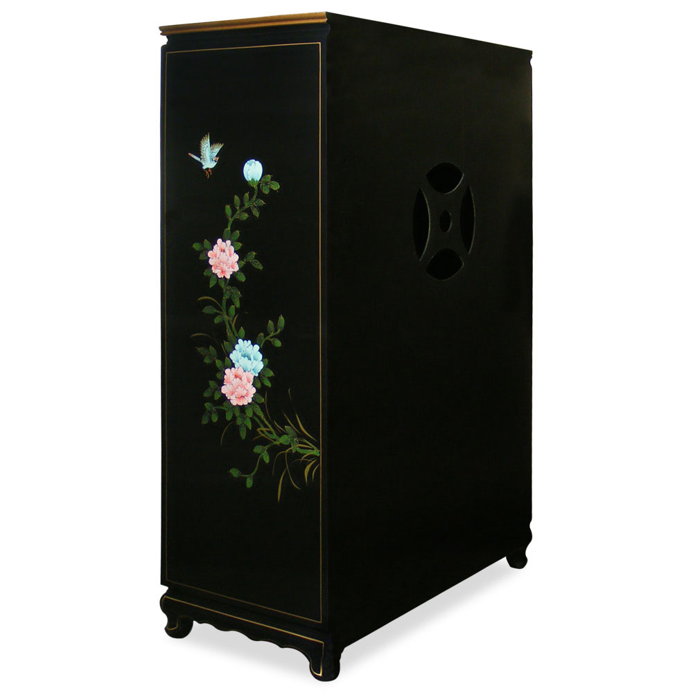 Black Lacquer Mother of Pearl TV Armoire