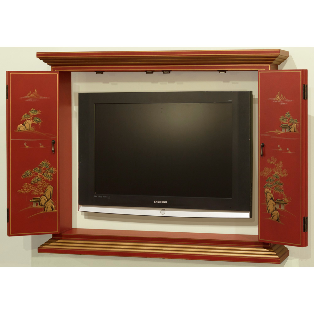 Chinoiserie wall tv cabinet for In wall tv cabinet