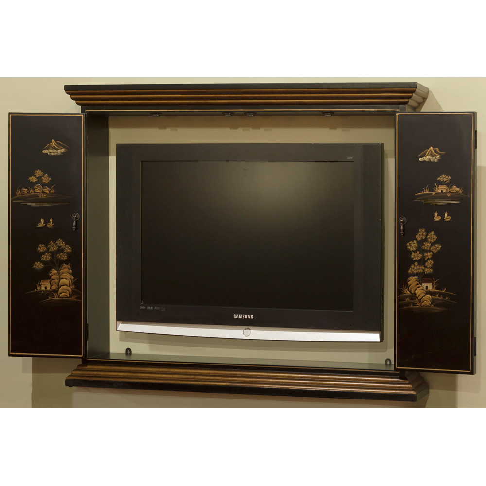 Chinoiserie Scenery Motif Wall Tv Cabinet