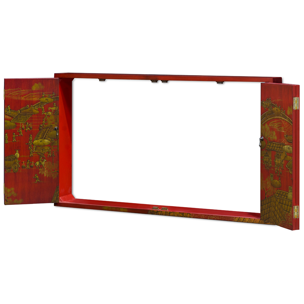 Chinoiserie Spring Festival Wall Media Cabinet