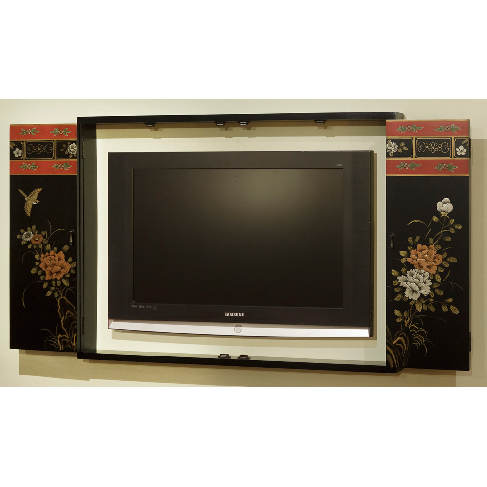 Tibetan Flower Design Wall TV Cabinet