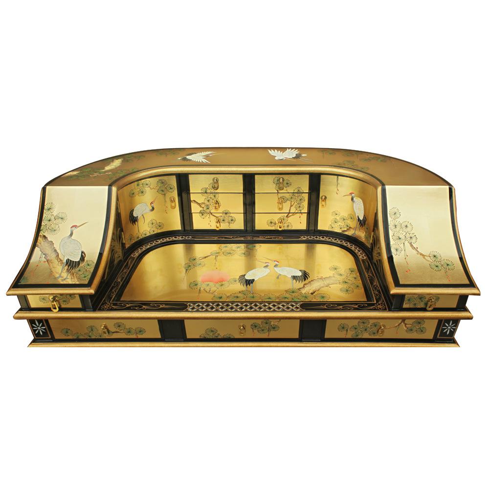 Gold Leaf Crane Harpsichord Style Oriental Desk Set