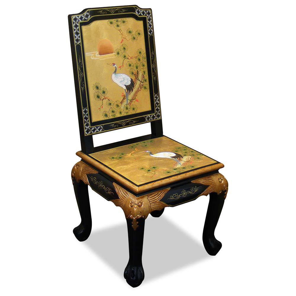 Gold Leaf Crane Motif Harpsichord Style Desk w Chair