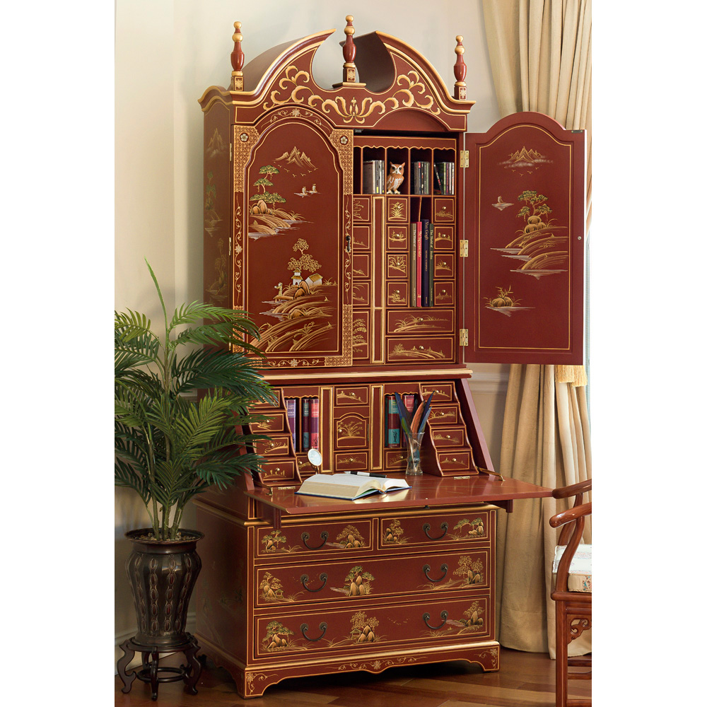 Chinoiserie Scenery Motif French Secretaire Desk