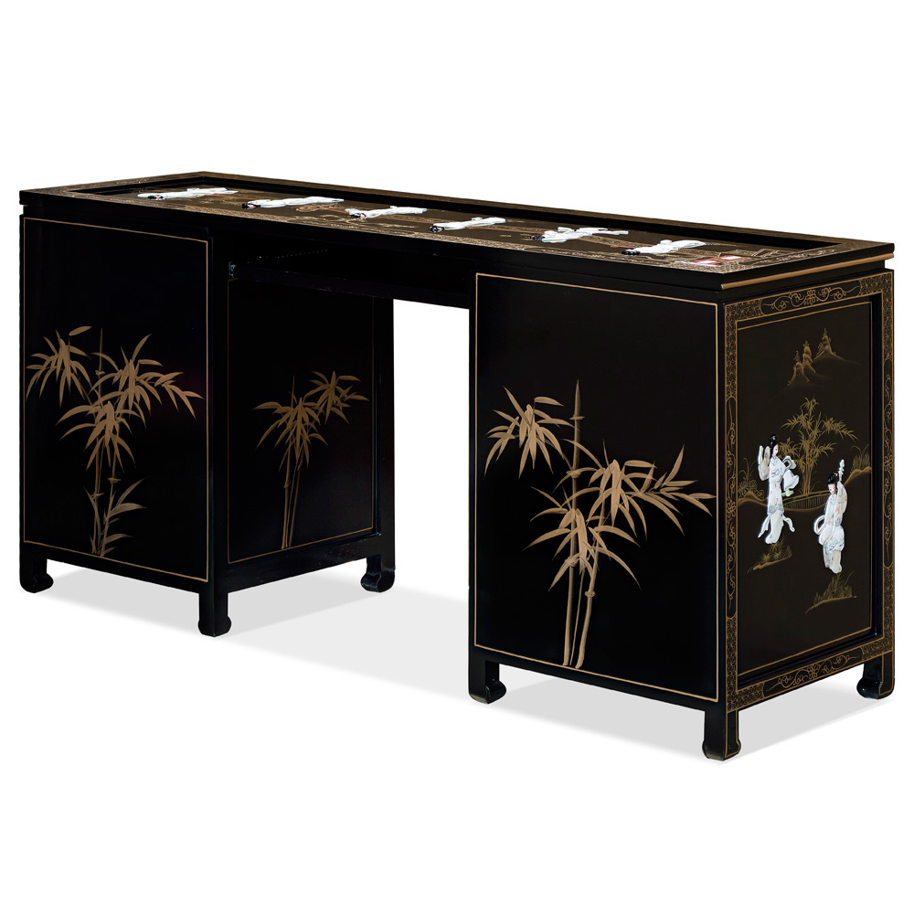 Black Lacquer Mother of Pearl Desk