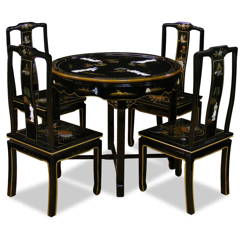 36in Black Lacquer Dining Table With 4 Chairs