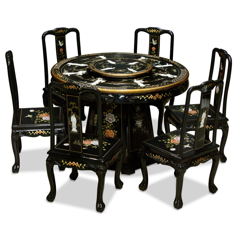 Round Table And Chairs For 6: 48in Black Lacquer Pearl Figure Motif Round Dining Table