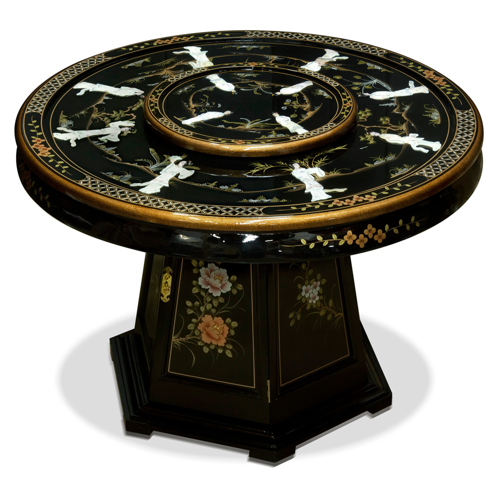 Black Lacquer Mother of Pearl Round Oriental Dining Set with 6 Chairs