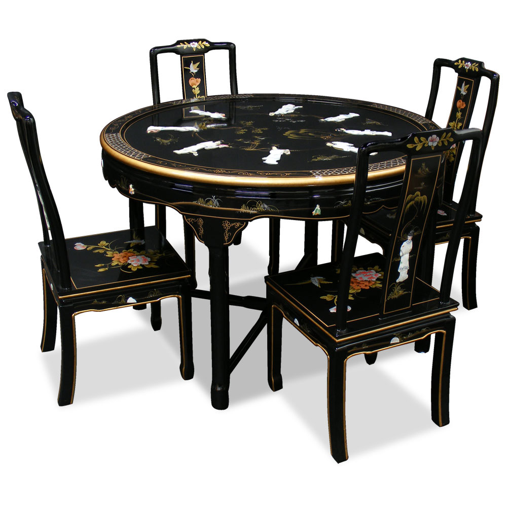 48in Black Lacquer Dining Table With 4 Chairs