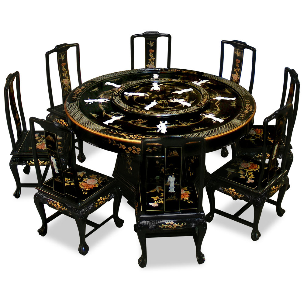 60in black lacquer dining table with 8 chairs for Oriental dining table