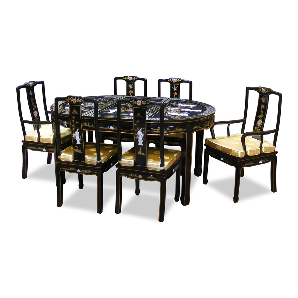64in black lacquer pearl figure motif oval dining table for Six chair dining table set
