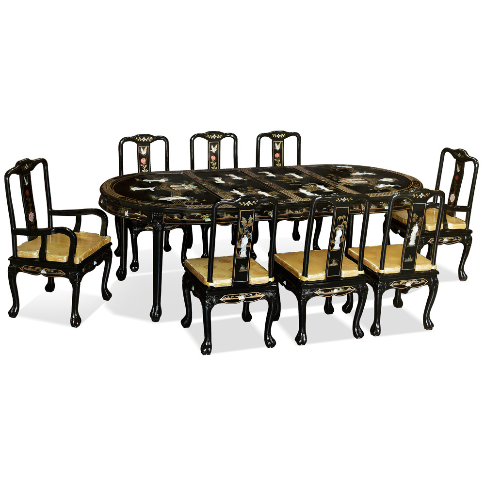Black Lacquer Mother of Pearl Oval Dining Set with 8 Chairs