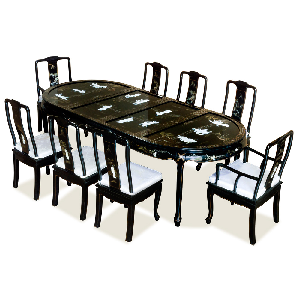 96in Oval Dining Set with Mother Pearl Ladies Motif d4db0acdbd