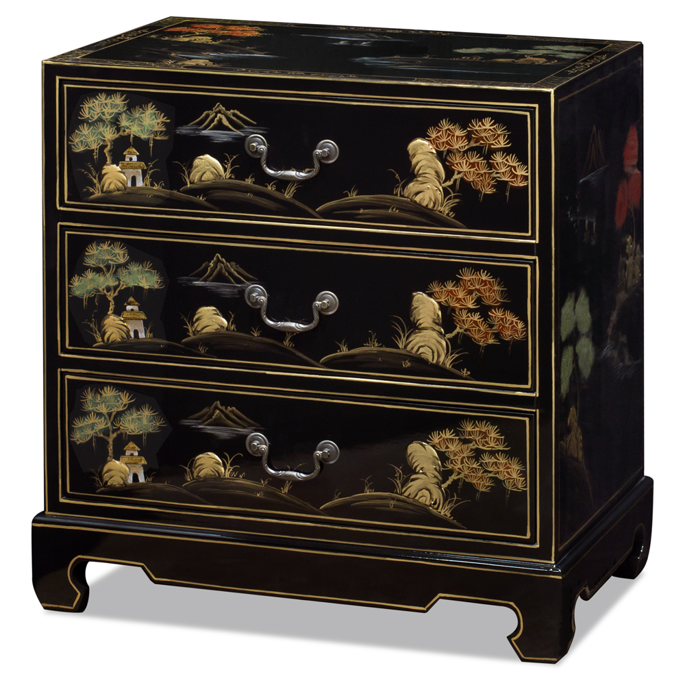 Black Lacquer Chinoiserie Scenery Motif Oriental Chest