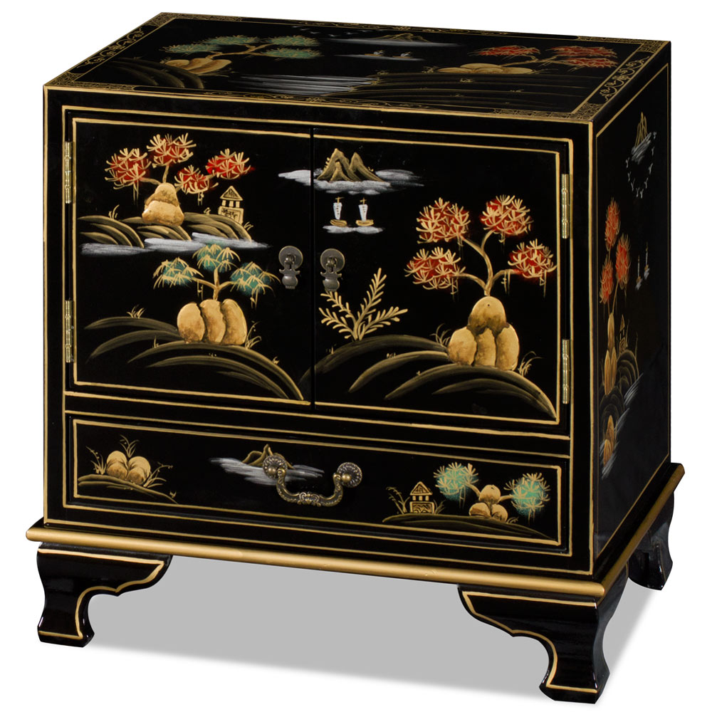 Black Chinoiserie Scenery Accent Cabinet
