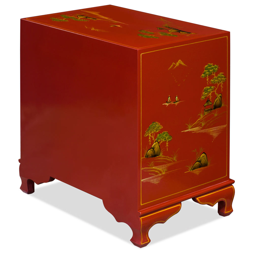 Chinoiserie Scenery Design Lamp Table