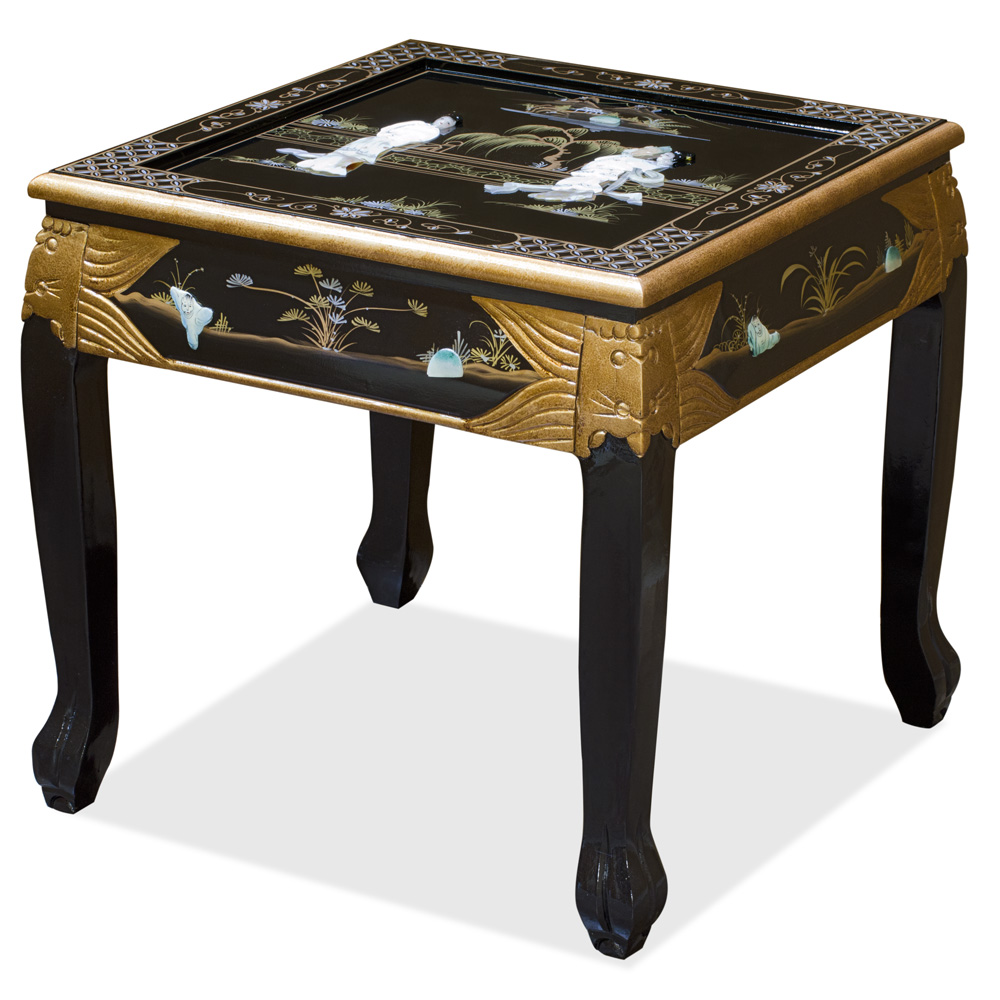 Black Lacquer Mother of Pearl Asian Accent Table