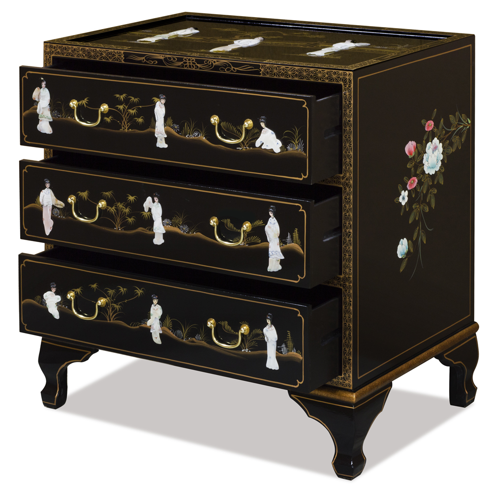 Black Lacquer Mother of Pearl Nightstand