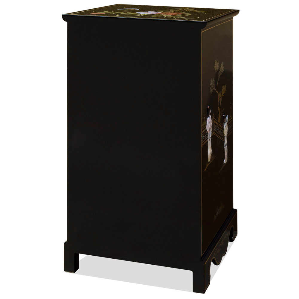 2-Drawer Black Lacquer Mother of Pearl File Cabinet