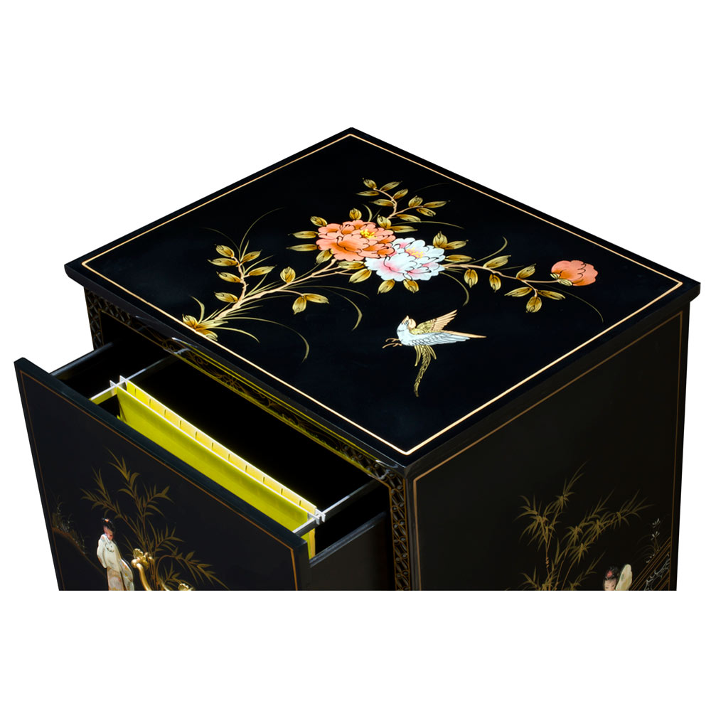 Black Lacquer Mother of Pearl 2 Drawer Oriental File Cabinet