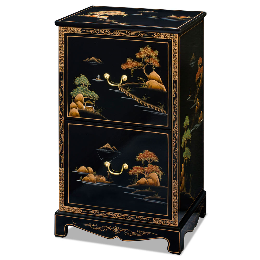 Chinoiserie Scenery 2 Drawer Oriental File Cabinet