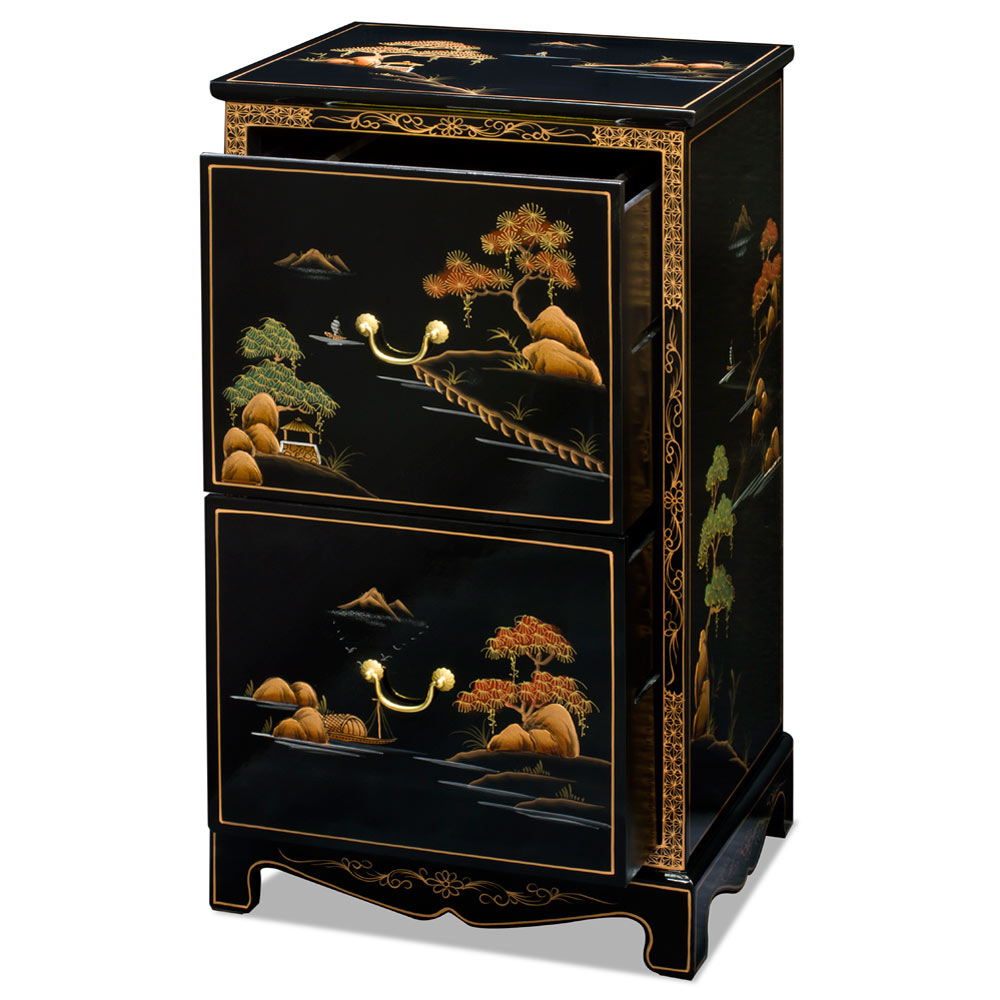 2-Drawer Chinoiserie Scenery Design File Cabinet