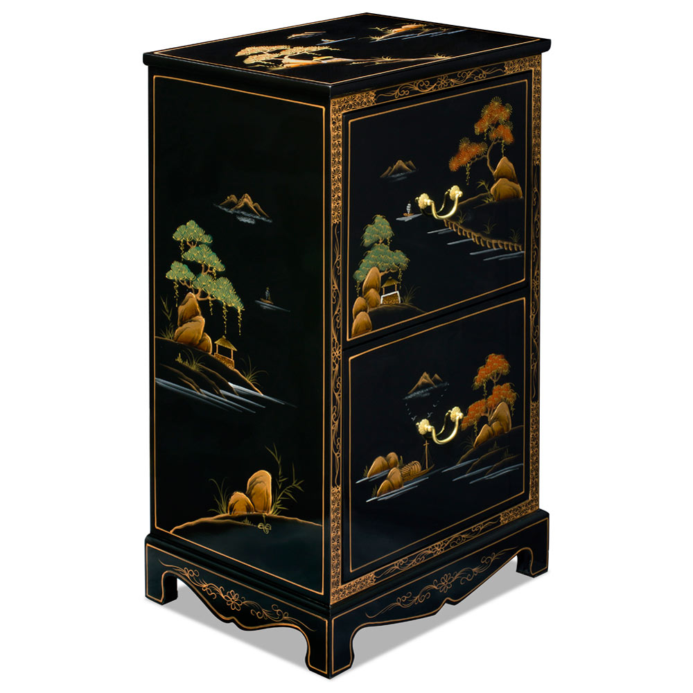 Chinoiserie Scenery Motif 2 Drawer Oriental File Cabinet
