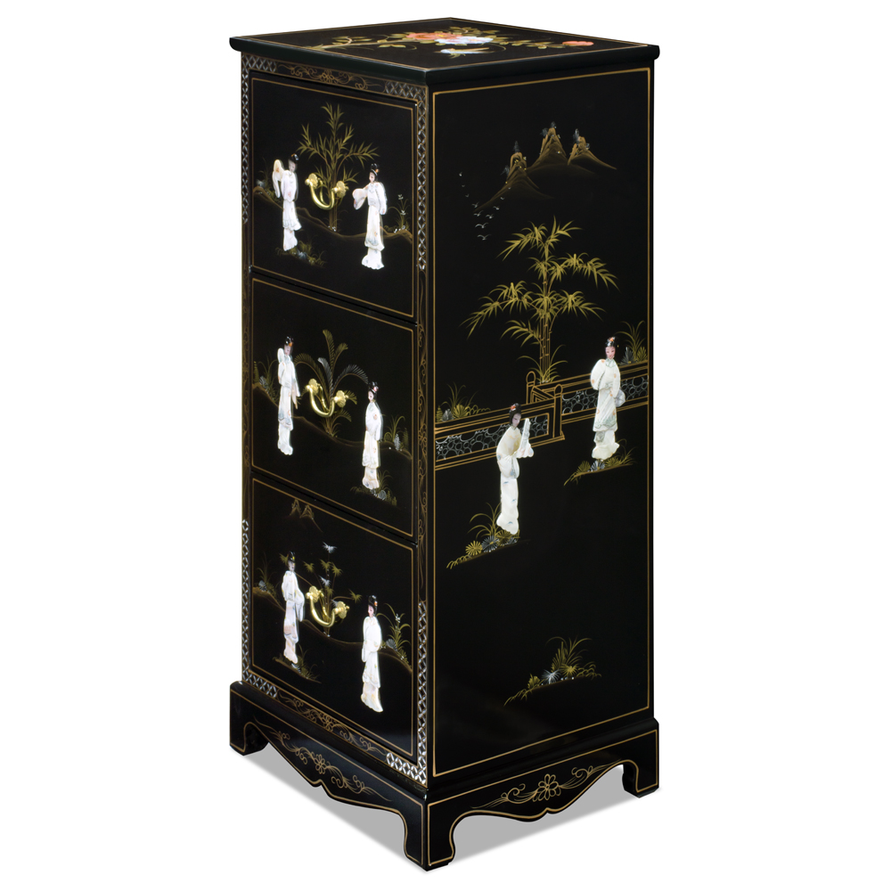 Black Lacquer Mother of Pearl 3 Drawer File Cabinet