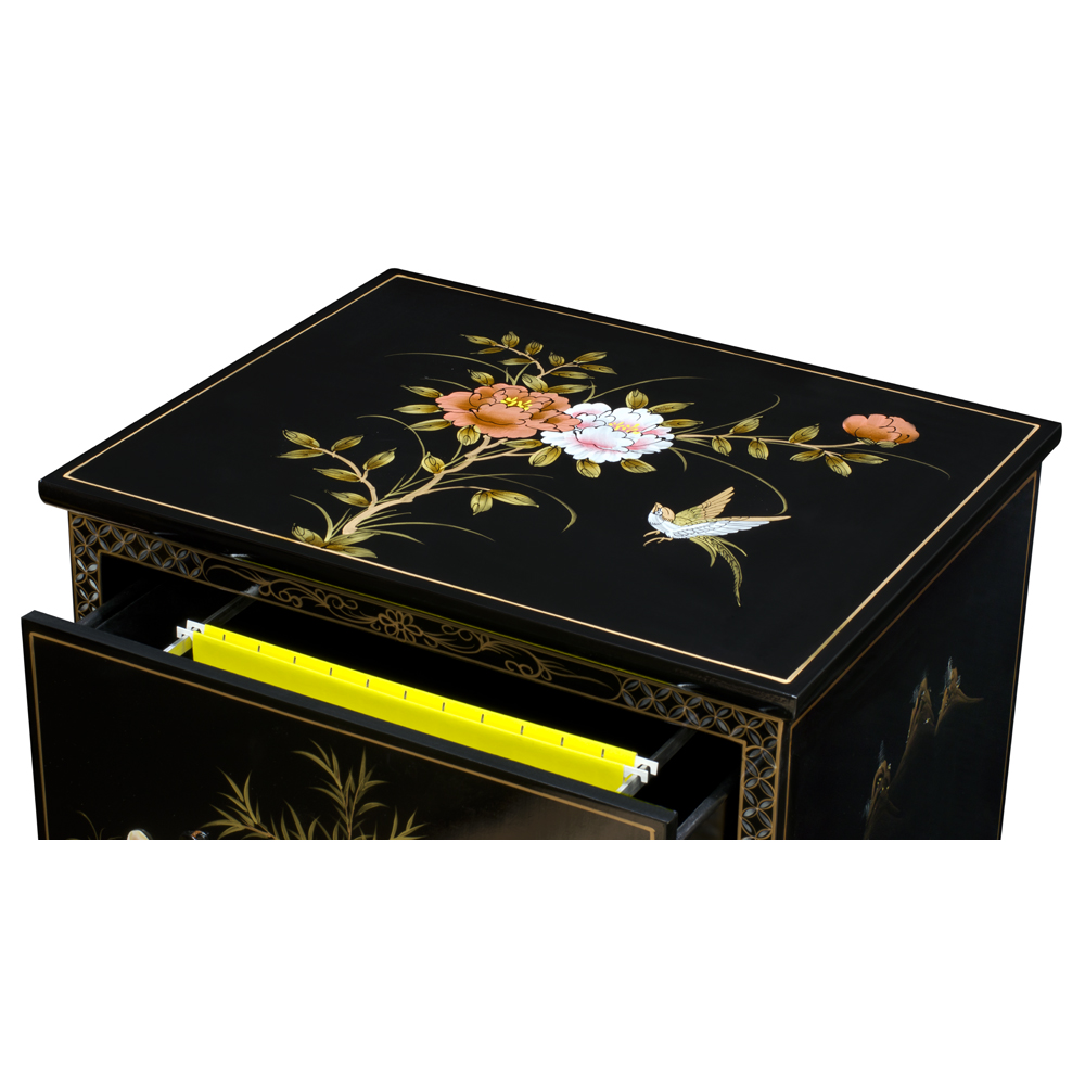 Black Lacquer Mother of Pearl 3 Drawer Oriental File Cabinet