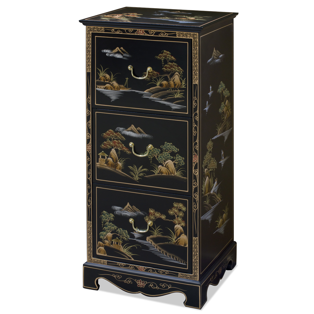 Chinoiserie Scenery Design File Cabinet