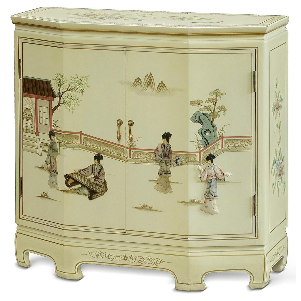 White Lacquer Console Cabinet With Soapstone  Motif