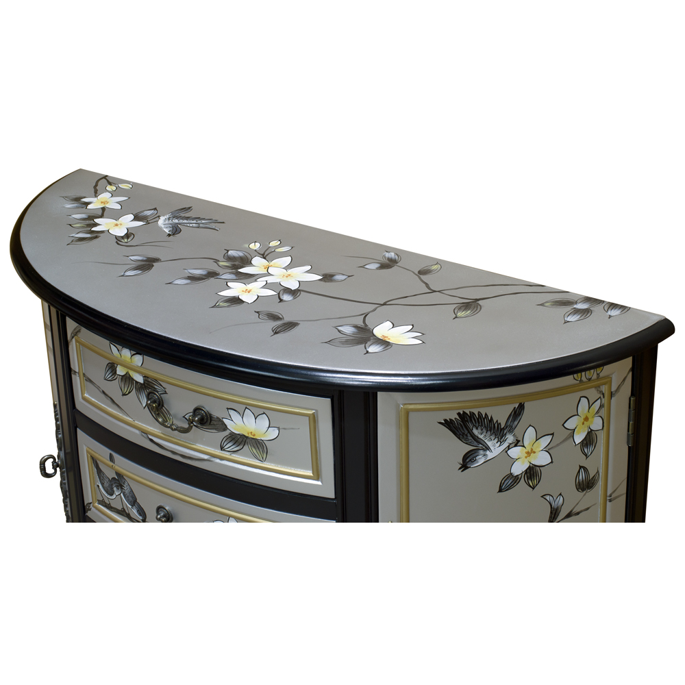 Silver Bird and Flower Motif Half Moon Asian Cabinet