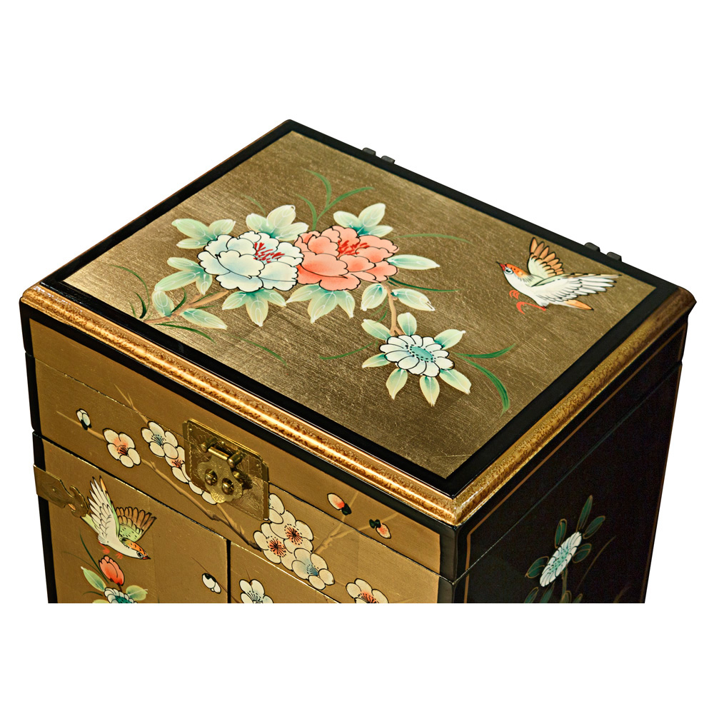 Hand-Painted Gold Jewelry Box