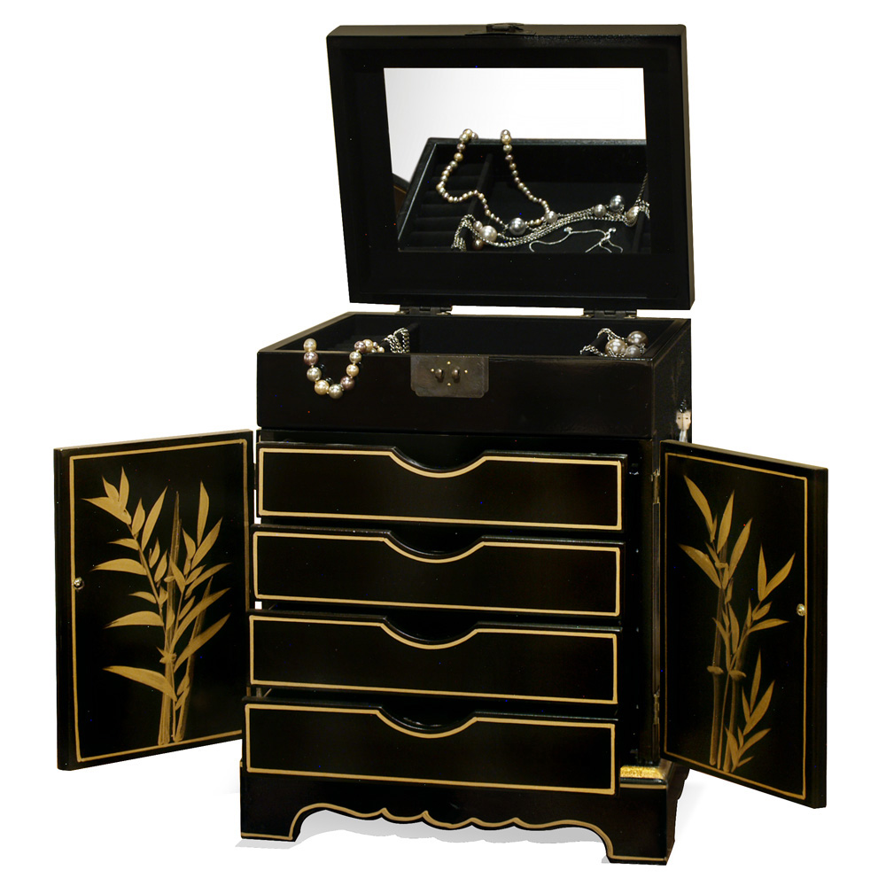 Black Lacquer Mother of Pearl Jewelry Chest