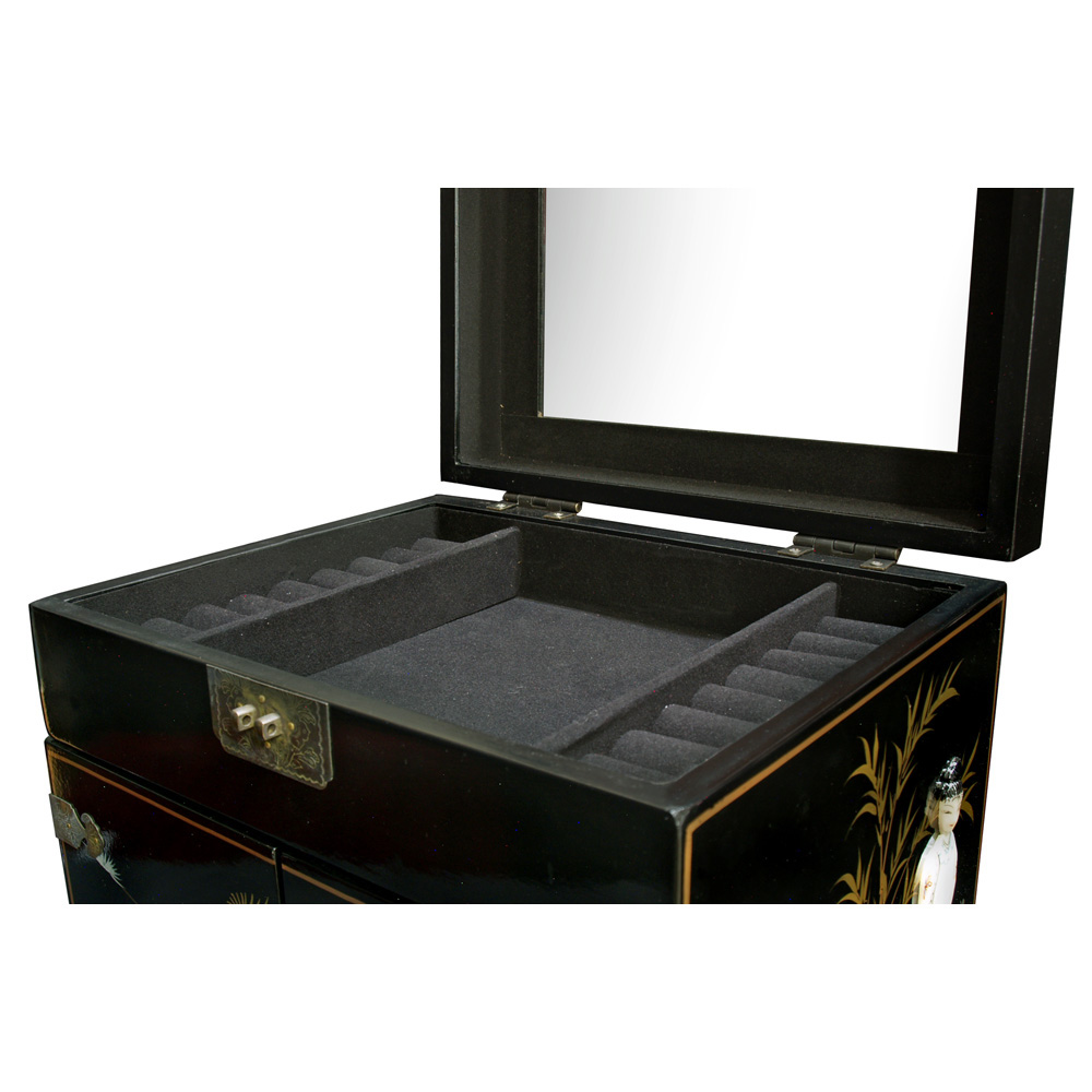 Black Lacquer Mother of Pearl Chinese Jewelry Chest