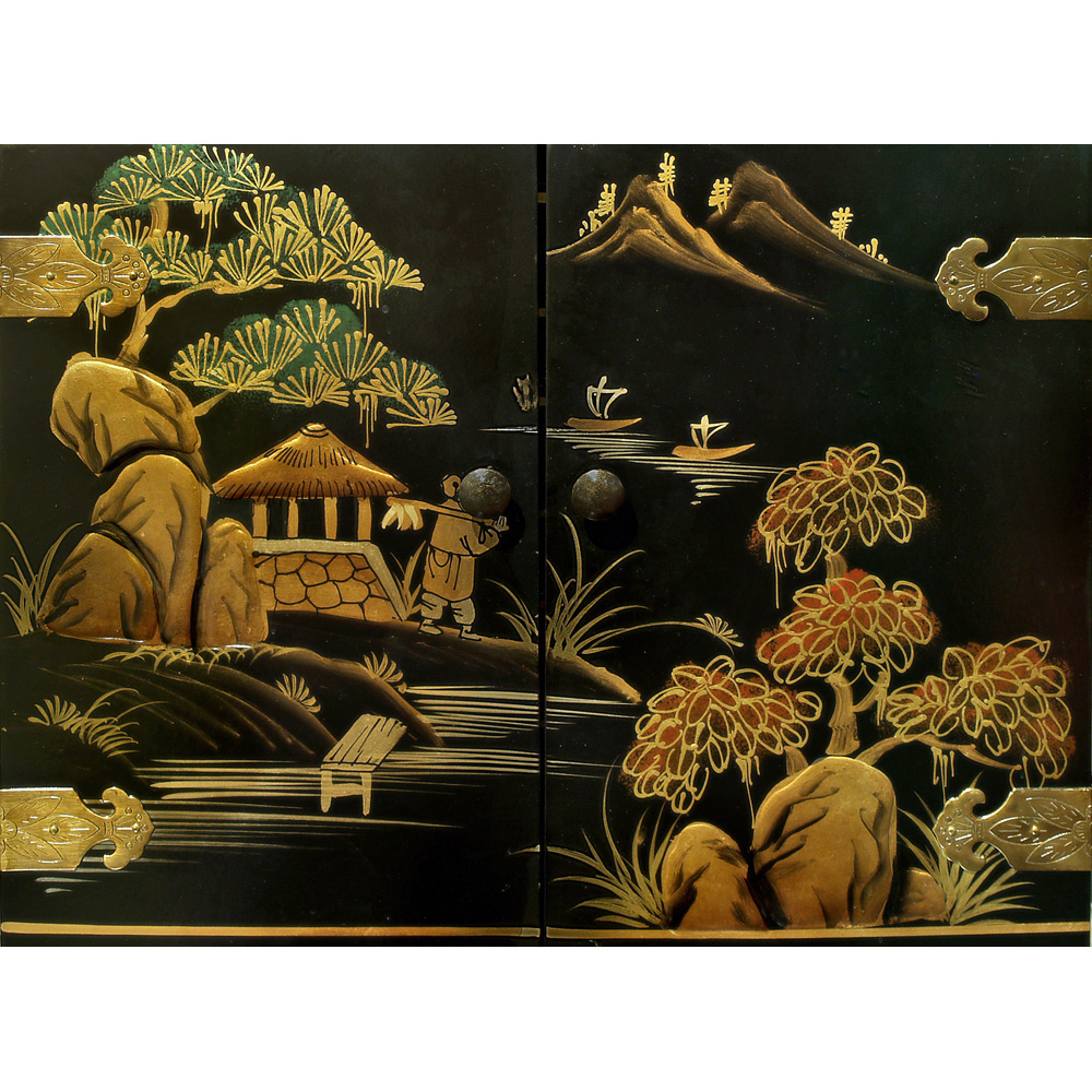 Chinoiserie Scenery Motif Chinese Jewelry Chest
