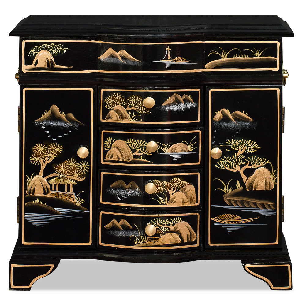 Chinoiserie Scenery Jewelry Cabinet