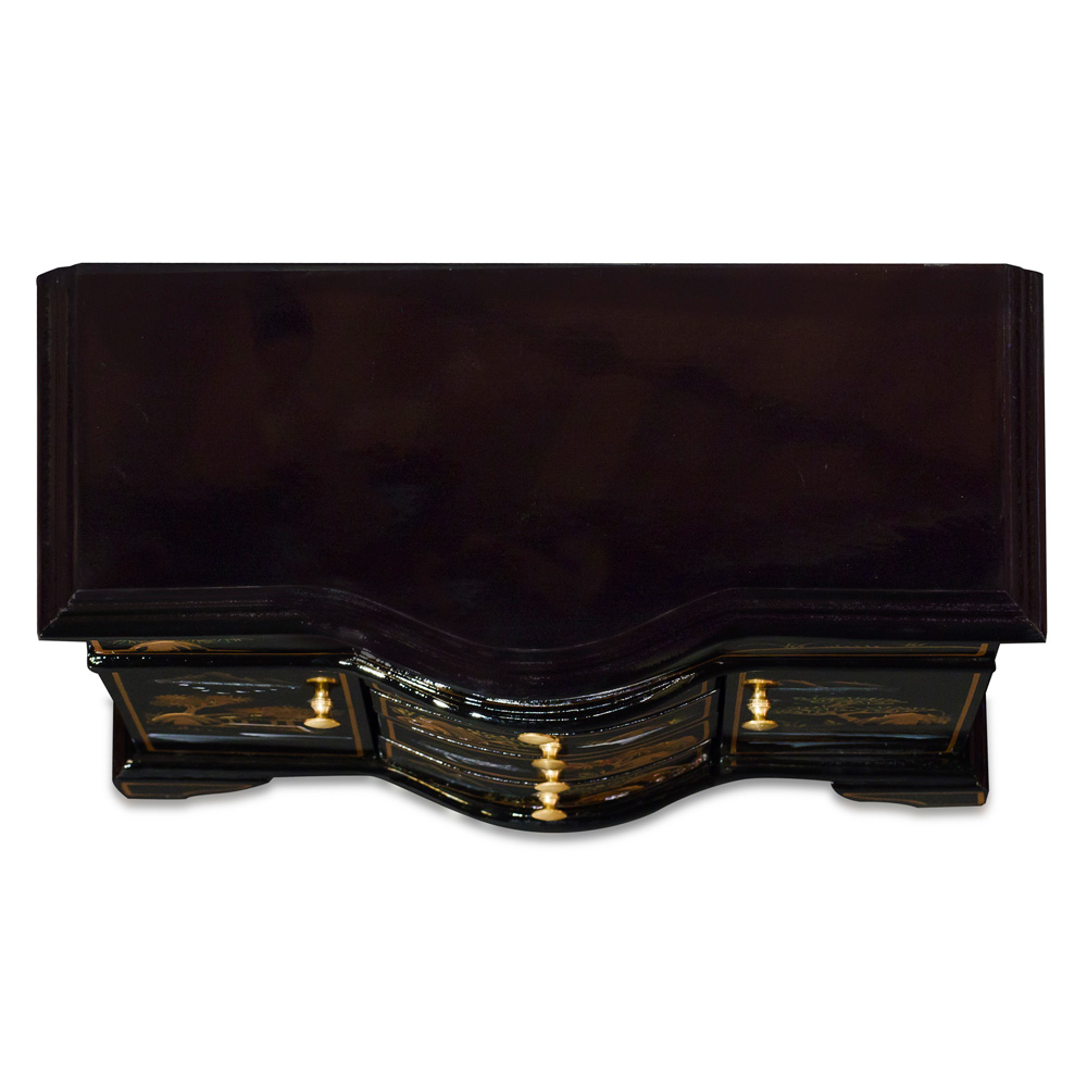Black Lacquer Chinoiserie Scenery Motif Oriental Jewelry Chest
