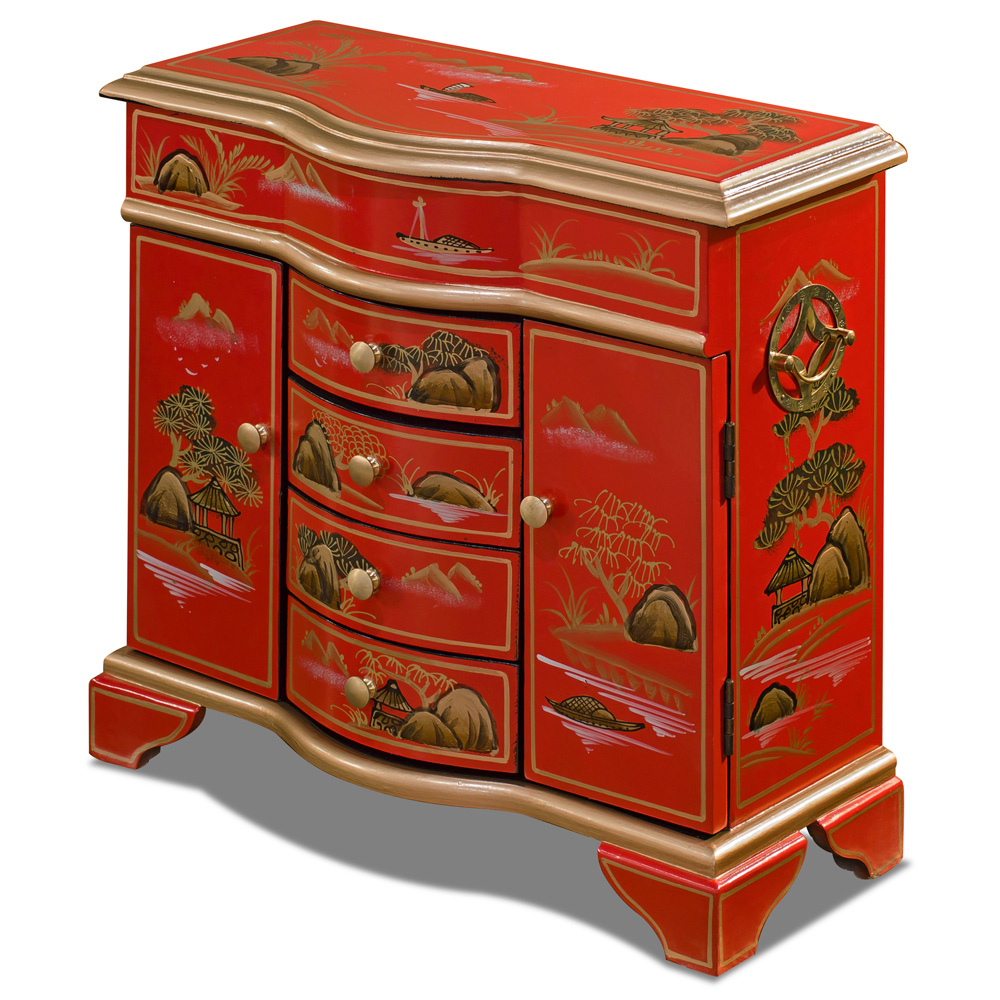 Red Chinoiserie Scenery Motif Oriental Jewelry Chest