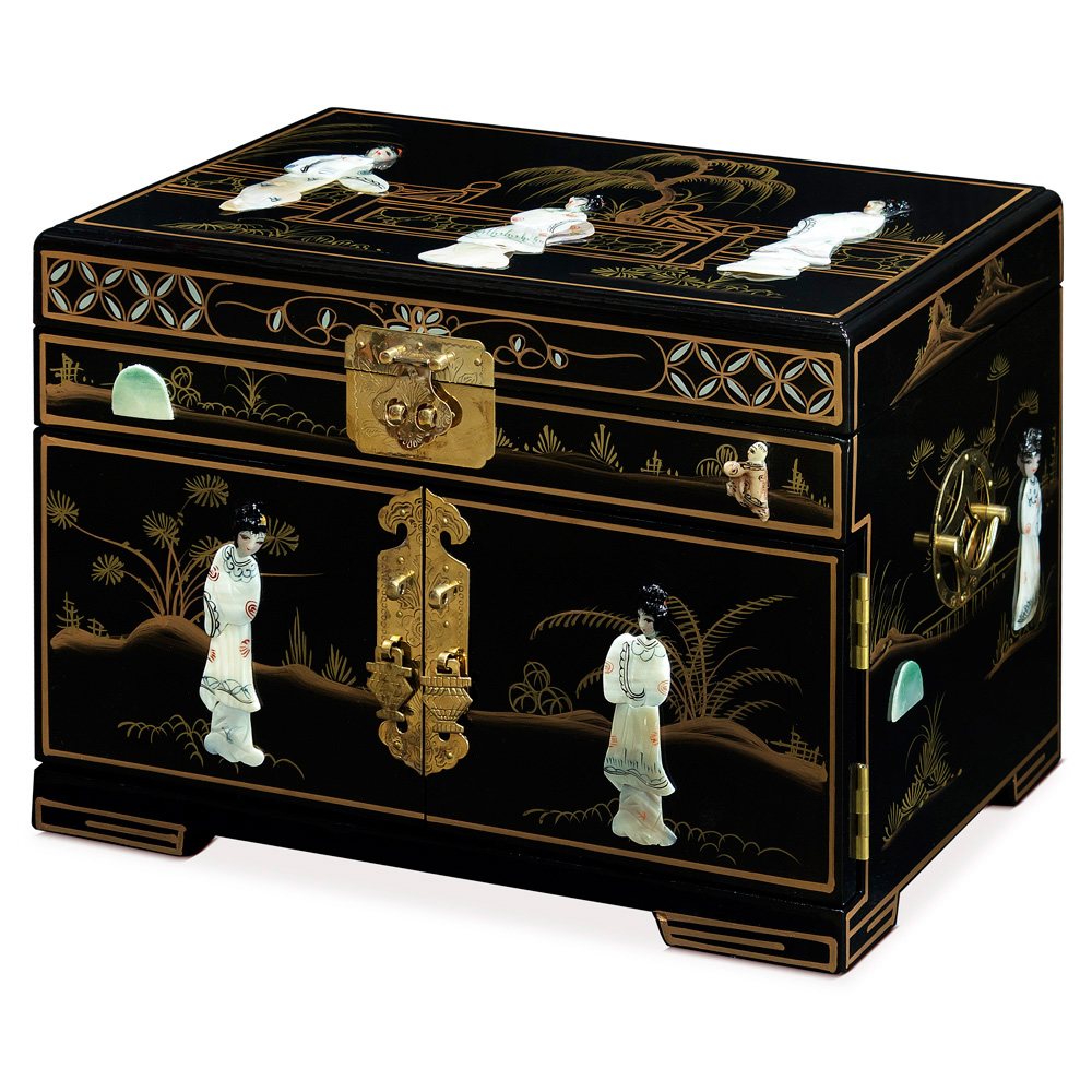 Black Lacquer with Courtly Ladies Mother of Pearl Jewelry Box