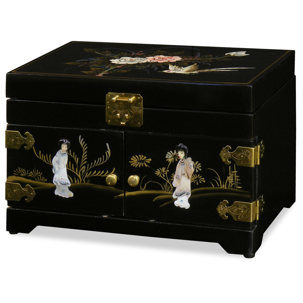 Black Lacquer Pearl Motif Jewelry Chest