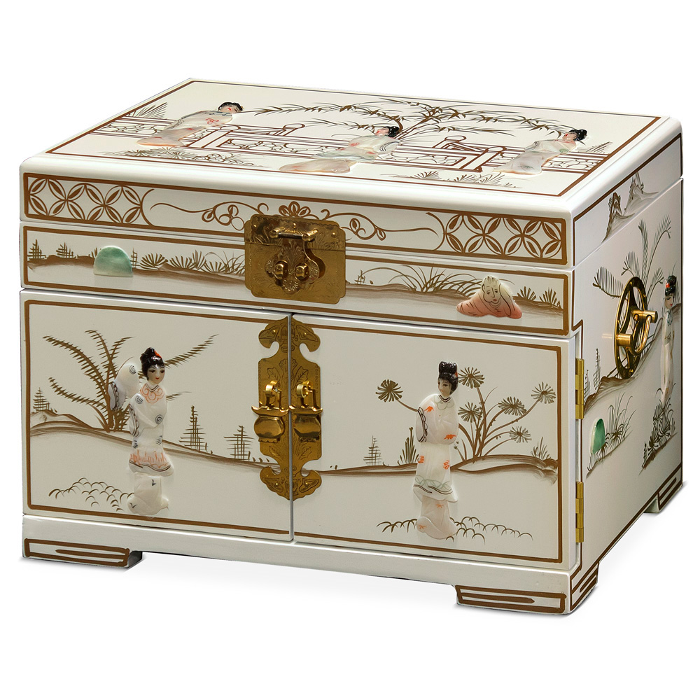 White Lacquer with Courtly Ladies Mother of Pearl Jewelry Box
