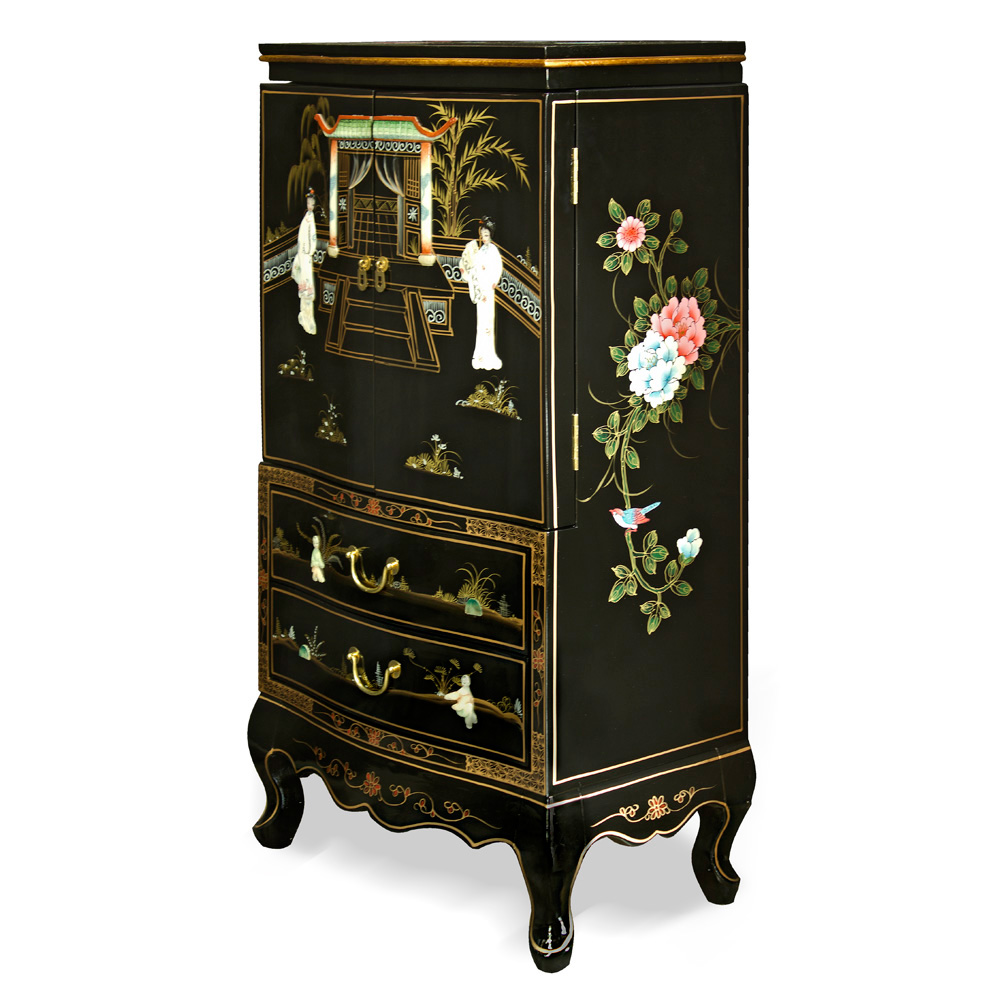 Black Lacquer Jewelry Armoire