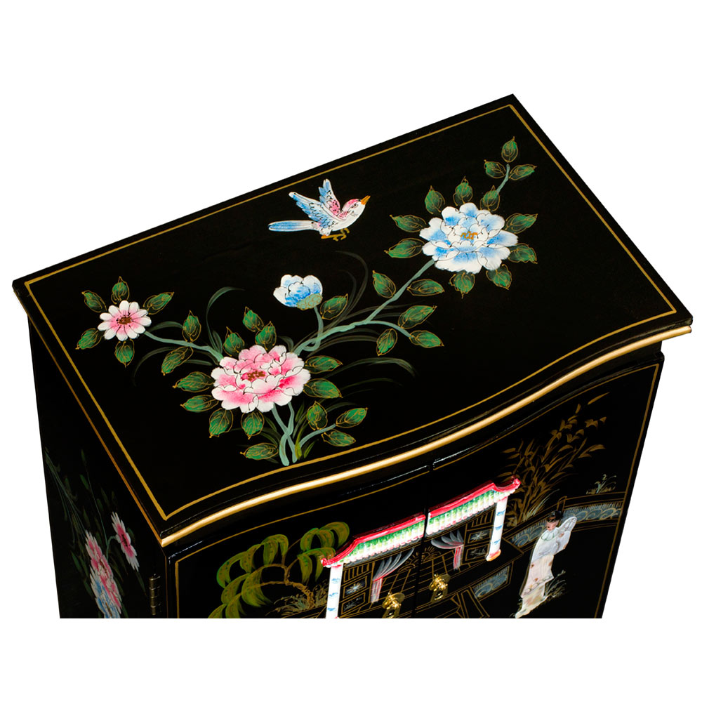 Black Lacquer Mother of Pearl Chinese Jewelry Armoire