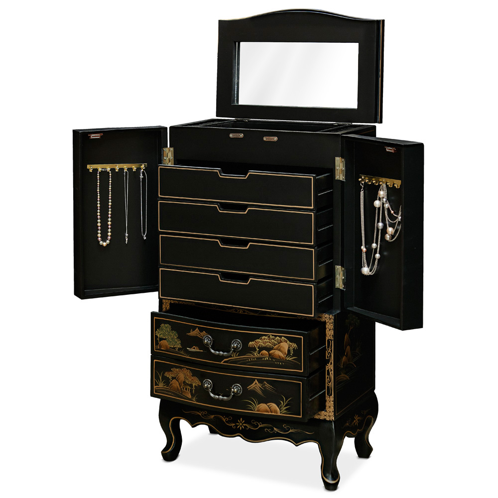 Black Chinoiserie Scenery Motif Jewelry Armoire