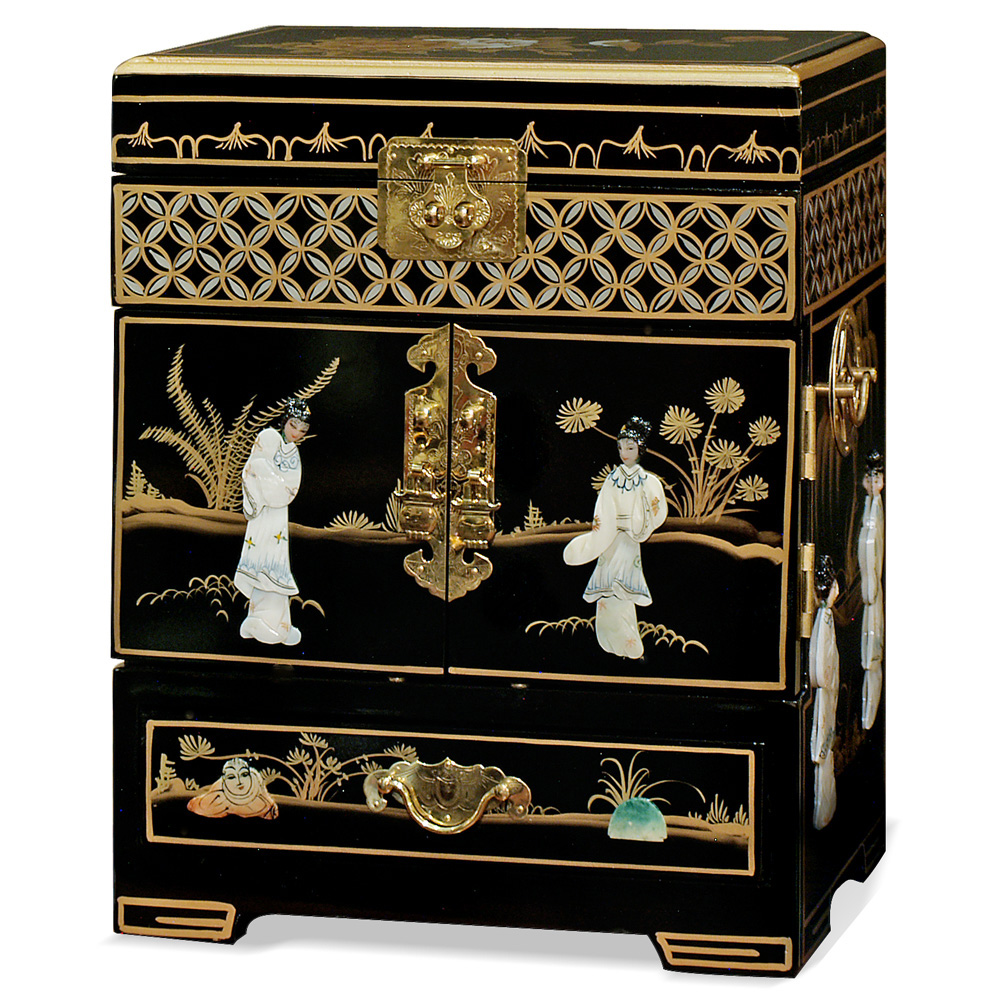 Black Lacquer Mother of Pearl Petite Jewelry Chest