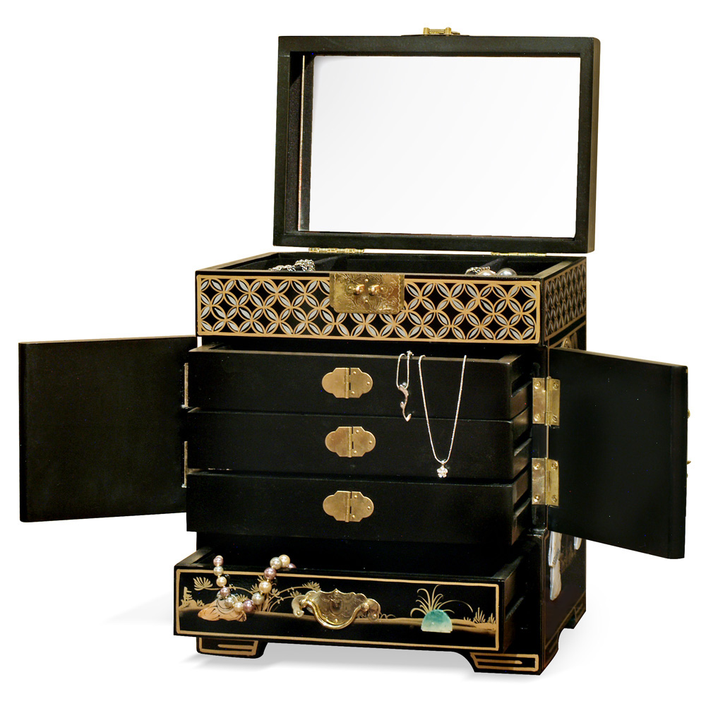 Black Lacquer Mother of Pearl Petite Chinese Jewelry Chest